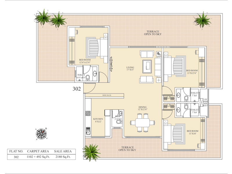 Pinak Gold Floor Plan - An Exclusive 3 BHK apartment in Ram Maruti Road Thane